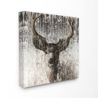 The Stupell Home Decor Rustic Distressed Surface Grey and Brown Wild Deer Canvas Wall Art, 17 x 17, Proudly Made in USA