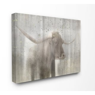 The Gray Barn Distressed Rustic Bull Canvas Wall Art