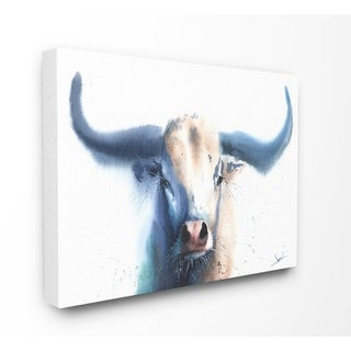 The Stupell Home Decor Bright White and Blue Watercolor Bull Painting Canvas Wall Art, 16 x 20, Proudly Made in USA