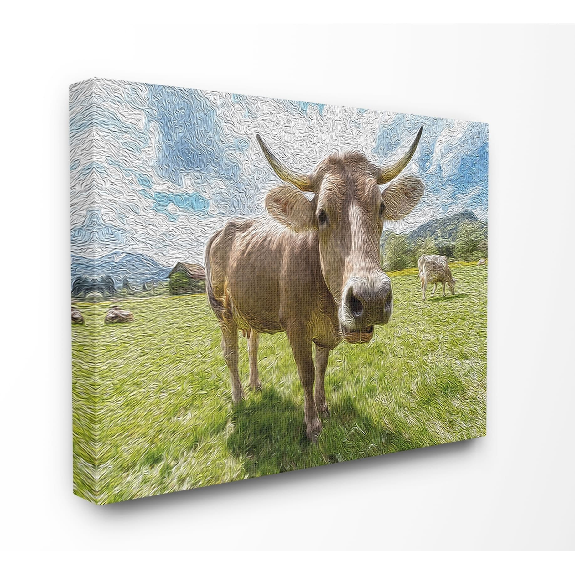 The Stupell Home Decor Fish Eye Swirled Look Cows In A Pasture Painting Canvas Wall Art 16 X 20 Proudly Made In Usa