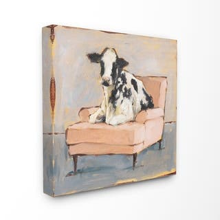 The Gray Barn Baby Calf on a Pink Couch Painting Canvas Wall Art
