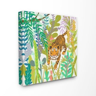 The Stupell Home Decor Bright Jungle Tiger in the Brush Illustration Canvas Wall Art, 17 x 17, Proudly Made in USA - Multi-Color