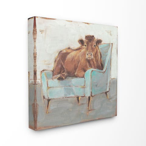 The Gray Barn Brown Bull on a Blue Couch Painting Canvas Wall Art