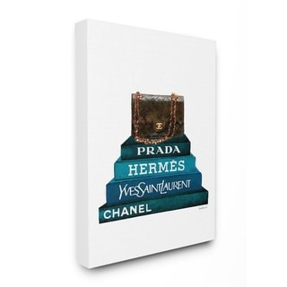 The Stupell Home Decor Grey Pink and Black Fashion Bookstack with Teal Mixer Stretched Canvas Wall Art 16 x 20 Multi-Color