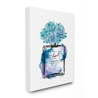 The Stupell Home Decor Watercolor Fashion Perfume Bottle with Blue Flowers Canvas Wall Art, 16 x 20, Proudly Made in USA