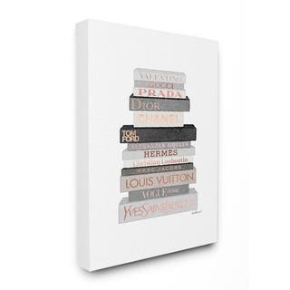 Silver Orchid Grey and Rose Gold Fashion Bookstack Canvas Wall Art - Multi-Color