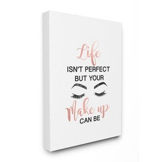 Silver Orchid Make Up with Lashes Fashion Typography Canvas Wall Art - Multi-Color