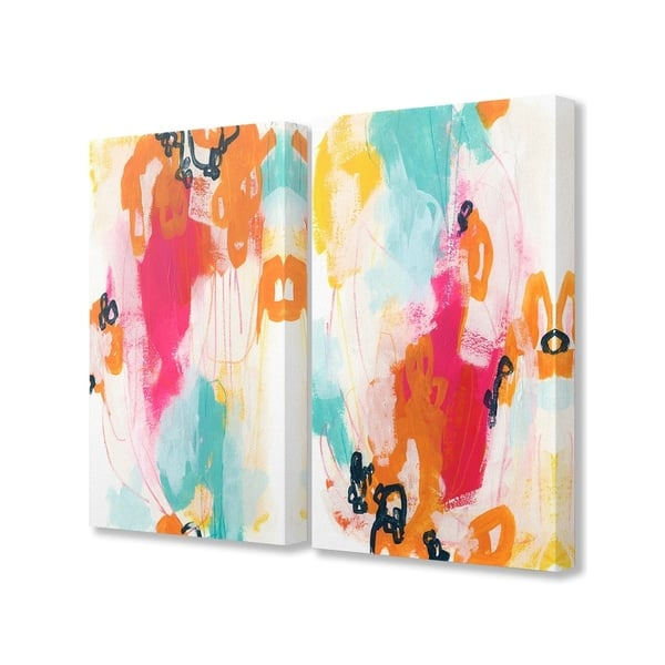 The Stupell Home Decor Bright Neon Pink And Aqua Blue Abstract Painting Canvas Wall Art 2pc Each 16 X 20 Proudly Made In Usa