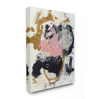 The Stupell Home Decor Pink Black and Yellow Dry Brushed Abstract Painting Canvas Wall Art, 16 x 20, Proudly Made in USA