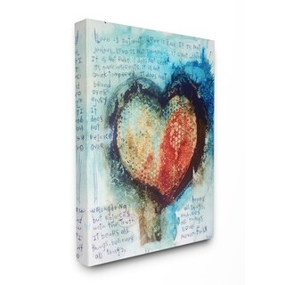 The Stupell Home Decor Red and Blue Painted Heart Over Words Collage Art Canvas Wall Art, 16 x 20, Proudly Made in USA