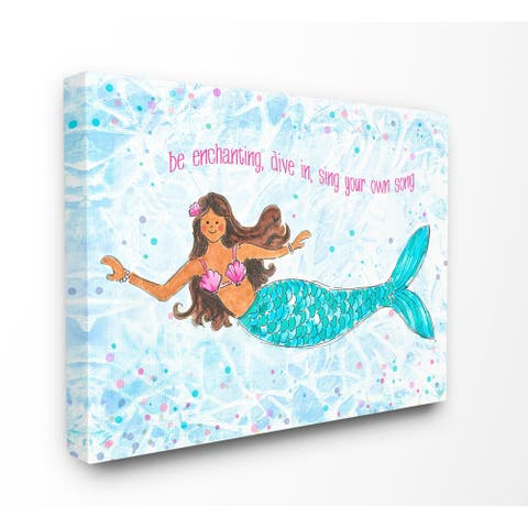 Porch & Den The Kids Room by Stupell Be Enchanting Blue and Pink Swimming Mermaid Canvas Wall Art - 16 x 20