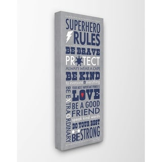 The Kids Room By Stupell Grey and Navy Superhero Rules Typography Canvas Wall Art, 10 x 24, Proudly Made in USA - Multi-Color