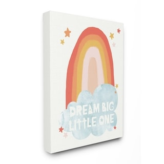 The Kids Room By Stupell Dream Big Little One Mod Orange Rainbow with Blue Cloud Canvas Wall Art, 16 x 20, Proudly Made in USA