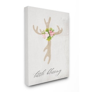 The Kids Room By Stupell Floral Antler Cross Little Blessing Baby Typography Canvas Wall Art, 16 x 20, Proudly Made in USA