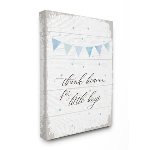Taylor & Olive Thank Heaven for Little Boys Planked Canvas Wall Art