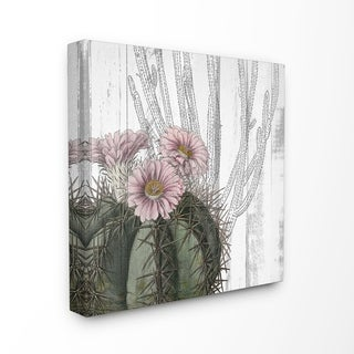 The Stupell Home Decor Cactus with Pink Blooming Flowers and Soft Grey Background Canvas Wall Art, 17 x 17, Proudly Made in USA