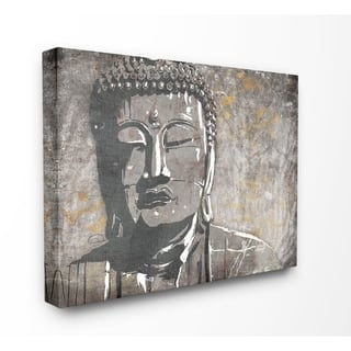 The Curated Nomad Distressed Tan and Grey Buddha Mural Canvas Wall Art