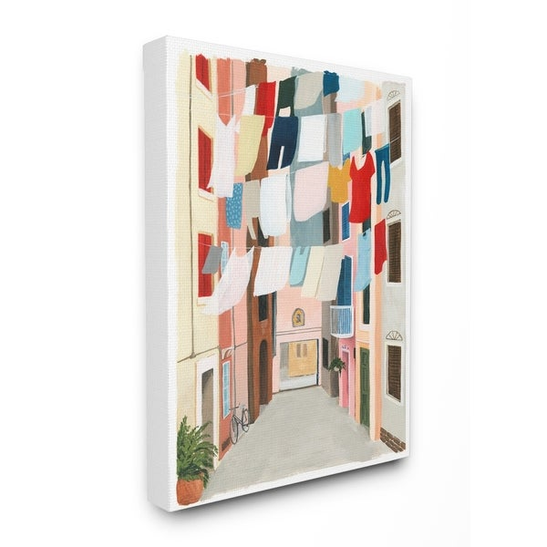 The Stupell Home Decor Colorful Laundry Day Clothes Line Between Apartments Canvas Wall Art, 16 x 20, Proudly Made in USA