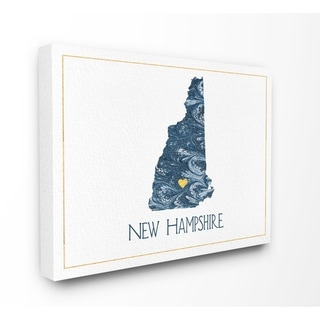 The Stupell Home Decor New Hampshire Minimal Blue Marbled Paper Silhouette Canvas Wall Art, 16 x 20, Proudly Made in USA