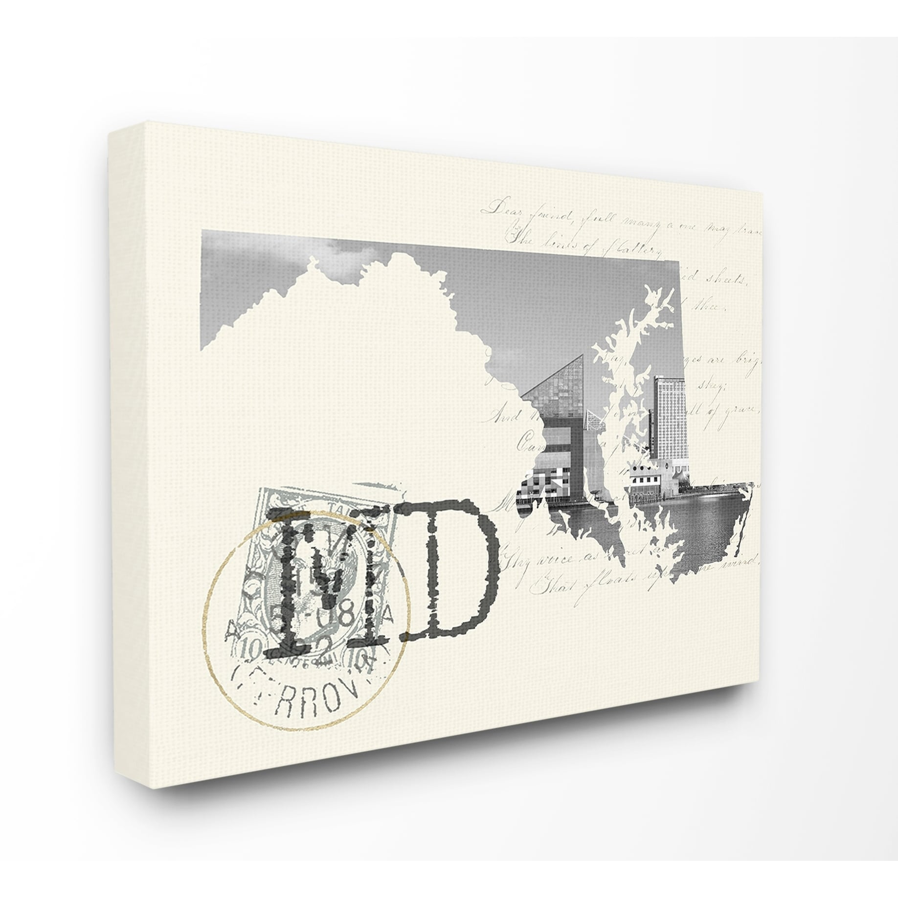 Details About The Stupell Home Decor Maryland Black And White Photograph On Cream Paper
