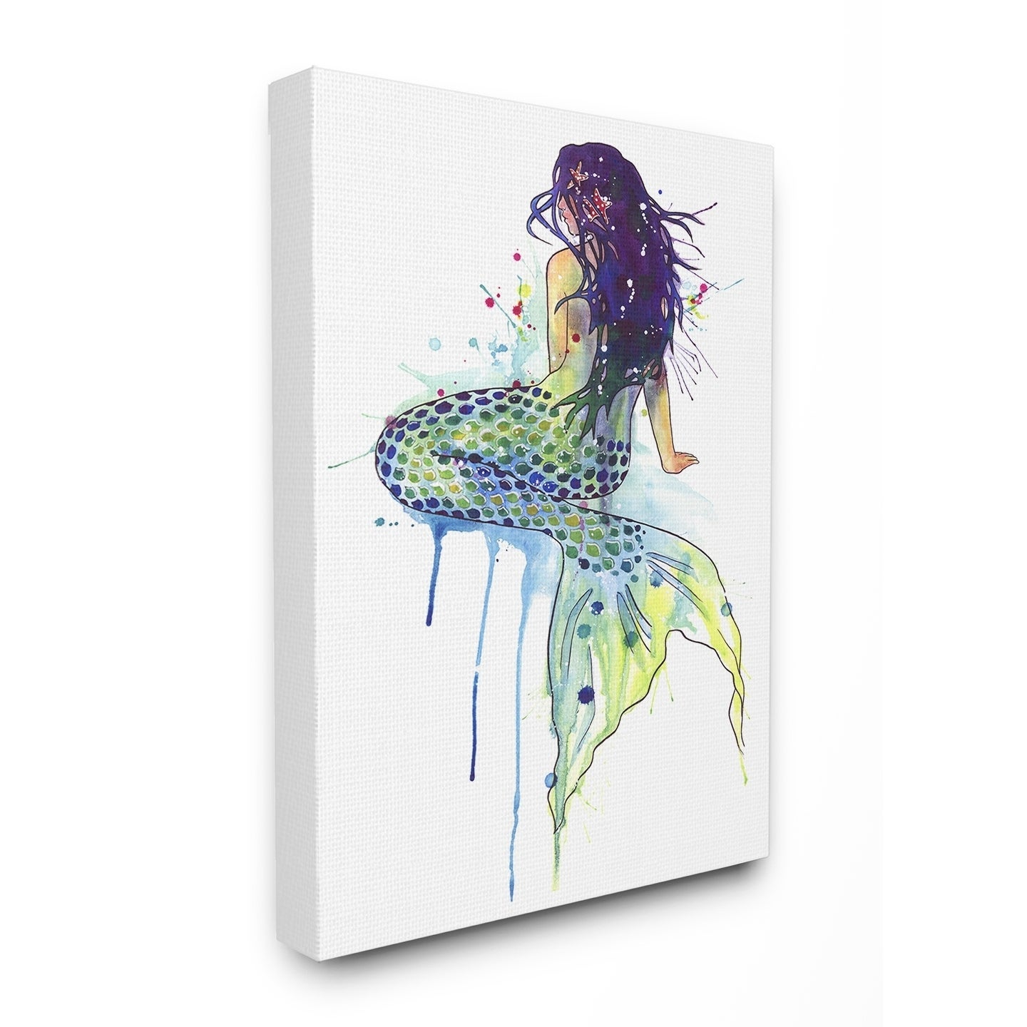 Multi-Color The Stupell Home Decor Dripping Watercolor Mermaid with Her Back Turned Wall Plaque Art 10 X 15
