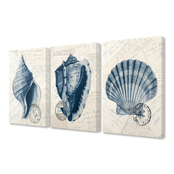 The Stupell Home Decor Vintage Blue Indigo Shells on Aged Letters Canvas Wall Art, 3pc, each 16 x 20, Proudly Made in USA