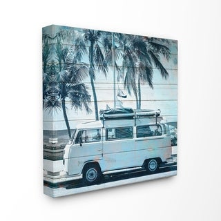 The Stupell Home Decor Blue Tinted Retro Van By the Beach Planked Look Canvas Wall Art, 17 x 17, Proudly Made in USA