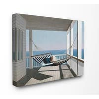 The Stupell Home Decor Blue and White Striped Hammock on the Beach House Porch Canvas Wall Art, 16 x 20, Proudly Made in USA