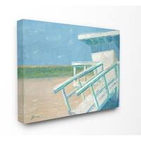 The Stupell Home Decor Painterly Blue and Green Lifeguard House on the Beach Canvas Wall Art, 16 x 20, Proudly Made in USA