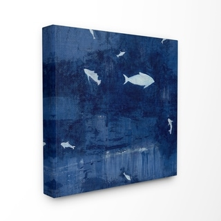 The Stupell Home Decor Deep Blue Fish Negative Space Silhouettes Painting Canvas Wall Art, 17 x 17, Proudly Made in USA