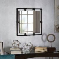Hamilton Industrial Square Pipe Fitting Mirror - Black