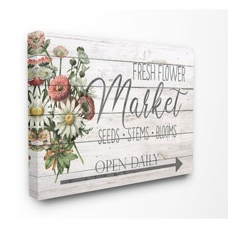 The Stupell Home Decor Farmhouse Planked Look Fresh Flower Market Open Daily Canvas Wall Art, 16 x 20, Proudly Made in USA