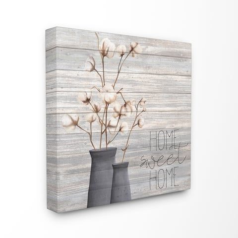 The Gray Barn Home Sweet Home Cotton Flowers in Vase Canvas Wall Art - Multi-Color