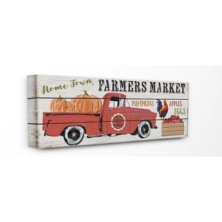 The Stupell Home Decor Home Town Farmers Market Red Pickup Truck with Pumpkins Canvas Wall Art, 10 x 24, Proudly Made in USA