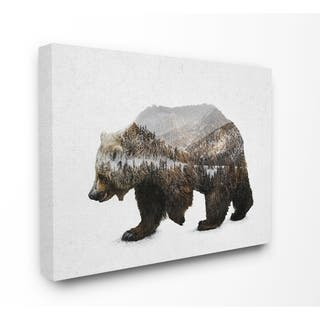 The Gray Barn Bear Silhouette Mountain Range Canvas Wall Art