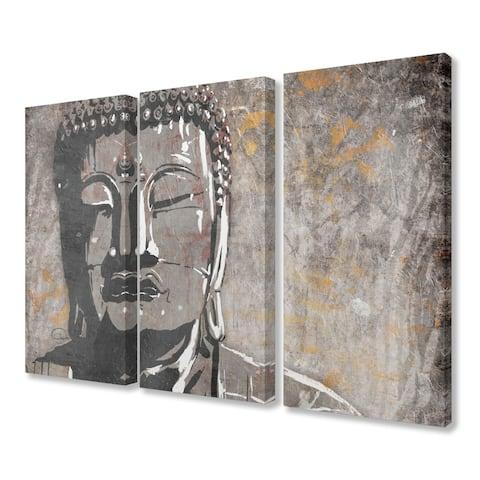 Porch & Den Painterly Tan and Grey Buddha Triptych Canvas Wall Art - 16 x 24
