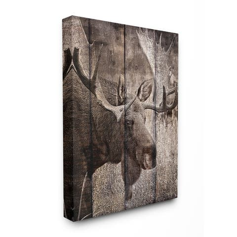 Carbon Loft Brown Moose Planked Photography Canvas Wall Art