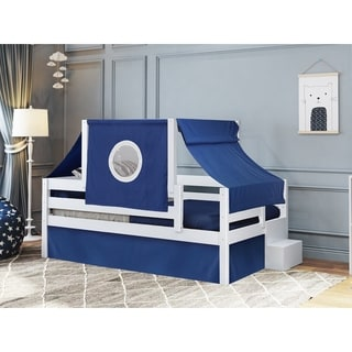 JACKPOT! Castle Twin Bed with Step Blue and White Tent & Curtains, White