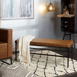 Shelby Upholstered Square Metal Frame Bench