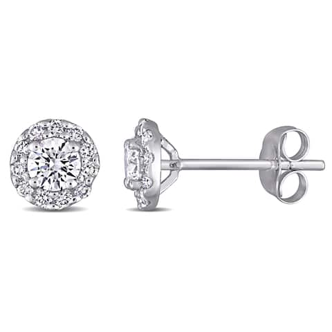 Eternally Yours 3/4ct TW Lab Grown Diamond Halo Stud Earrings in 14k White Gold