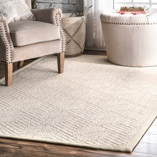 The Curated Nomad Fell Casual Natural Fiber Solid Sisal/ Wool Linear Area Rug