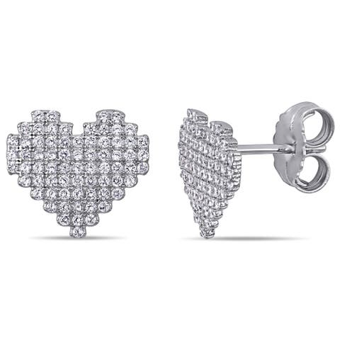 Miadora Sterling Silver Cubic Zirconia Clustered Heart Stud Earrings