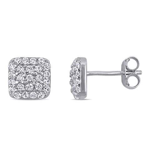 Miadora Sterling Silver Cubic Zirconia Square Cluster Stud Earrings