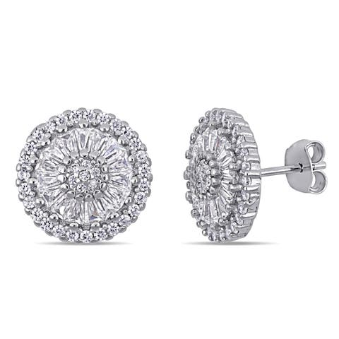 Miadora Sterling Silver Cubic Zirconia Floral Cluster Halo Stud Earrings