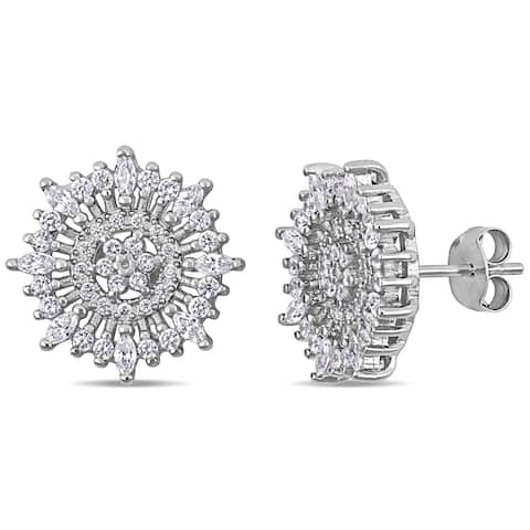 Miadora Sterling Silver Marquise and Round-Cut Cubic Zirconia Floral Cluster Stud Earrings