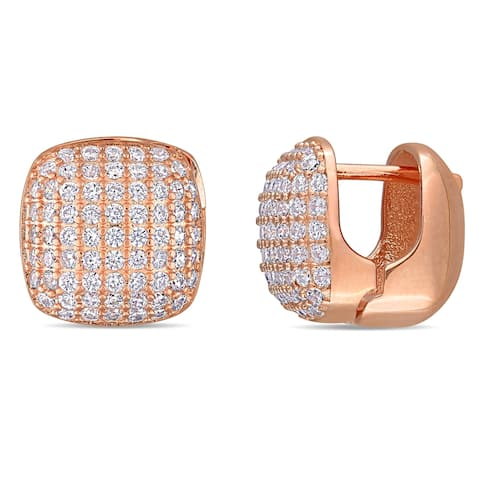 Miadora Rose Plated Sterling Silver Cubic Zirconia Clustered Square Stud Earrings