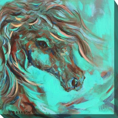 Teal Horse #2 Indoor/Outdoor Art - Multi-color