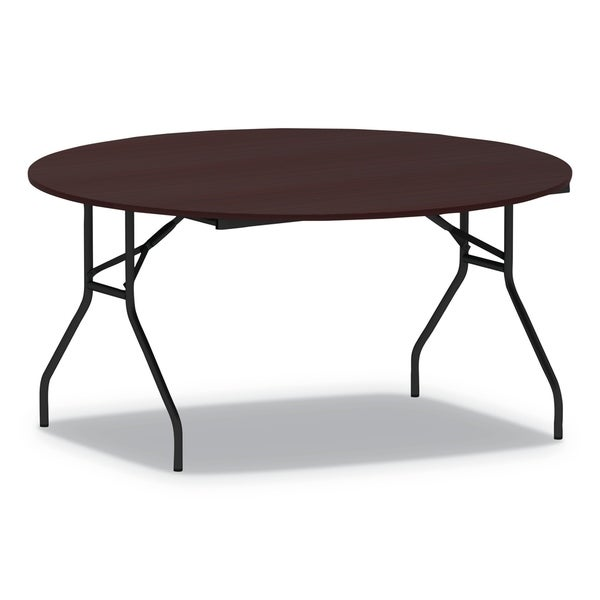 Alera Round Wood Folding Table, 59 Dia x 29h, Mahogany