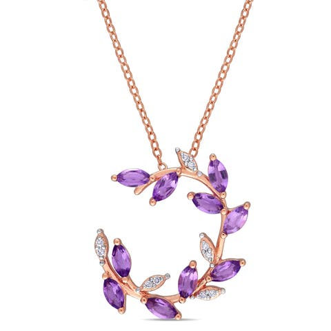 Laura Ashley African-Amethyst and Diamond Front Ring Leaf Necklace in Rose Plated Sterling Silver