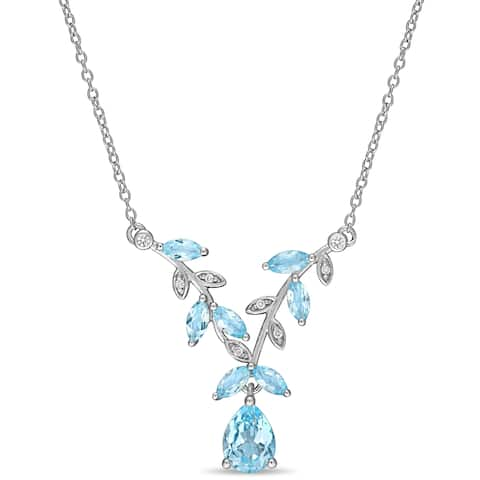 Laura Ashley Sky-Blue Topaz Created White Sapphire Diamond Lariat Necklace in Sterling Silver